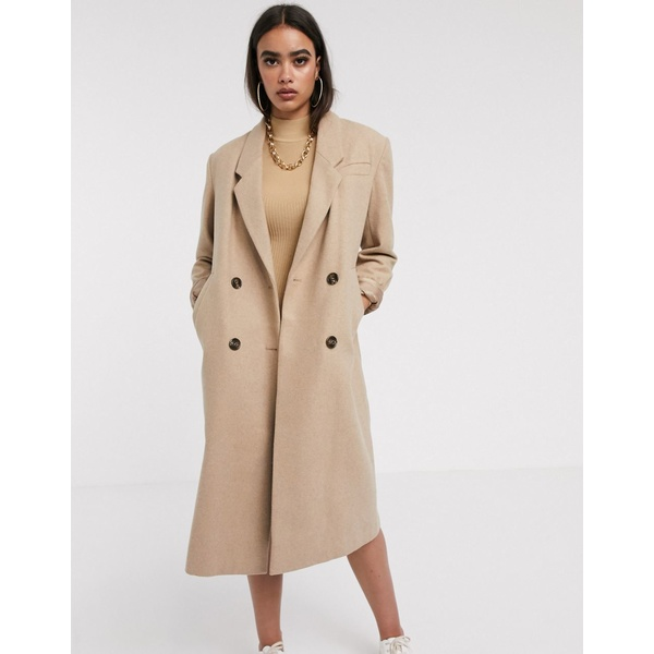 エイソス レディース コート アウター ASOS DESIGN double breasted longline coat in camel Camel