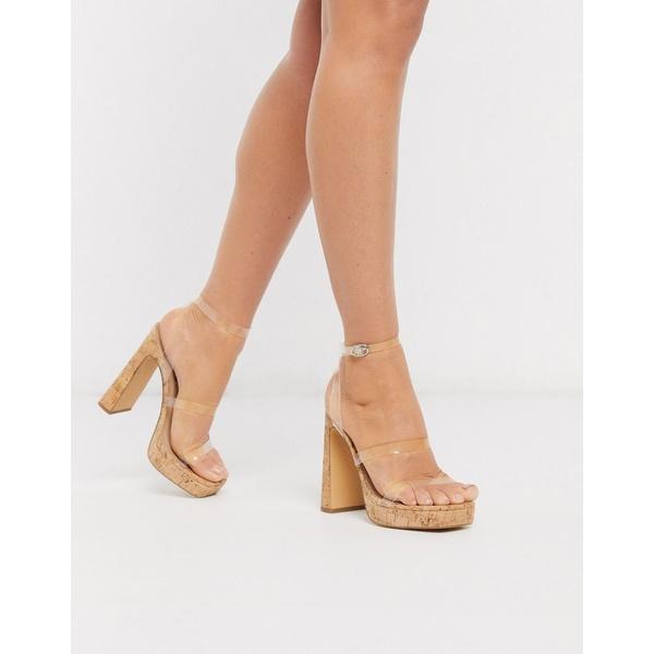 ロンドンレベル レディース ヒール シューズ London Rebel 90's cork platform heeled sandals with clear straps Clear