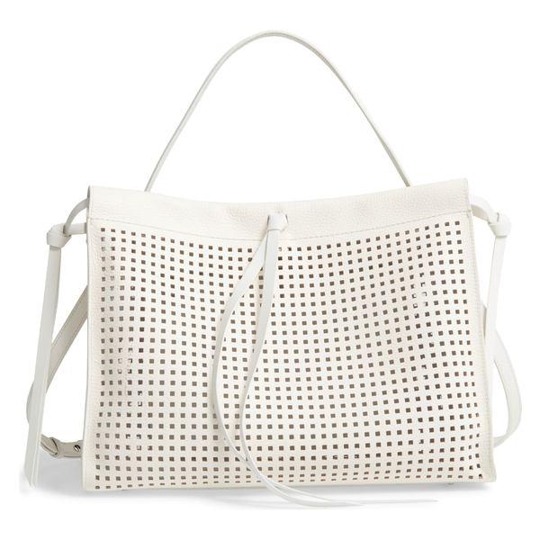 ボス レディース トートバッグ バッグ BOSS Katlin Small Perforated Leather Tote Open White