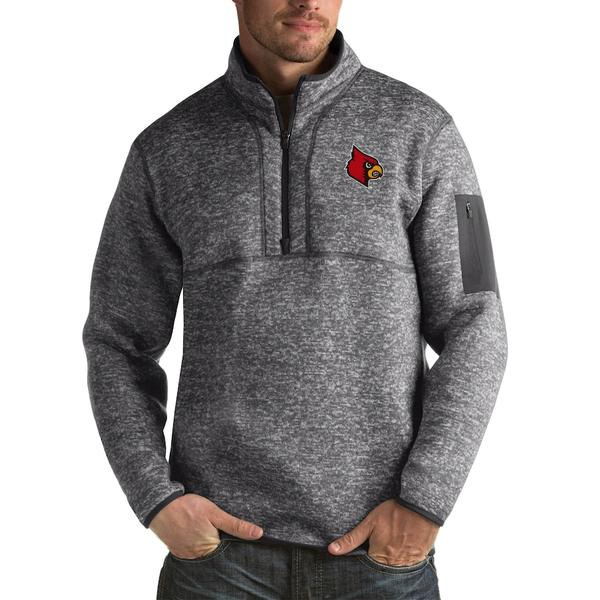 アンティグア メンズ ジャケット&ブルゾン アウター Louisville Cardinals Antigua Fortune Big & Tall Quarter-Zip Pullover Jacket Charcoal
