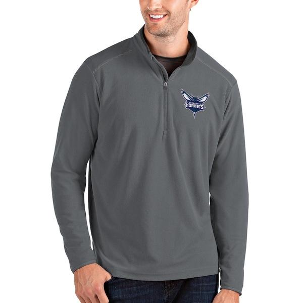 アンティグア メンズ ジャケット&ブルゾン アウター Charlotte Hornets Antigua Big & Tall Glacier Quarter-Zip Pullover Jacket Gray/Gray