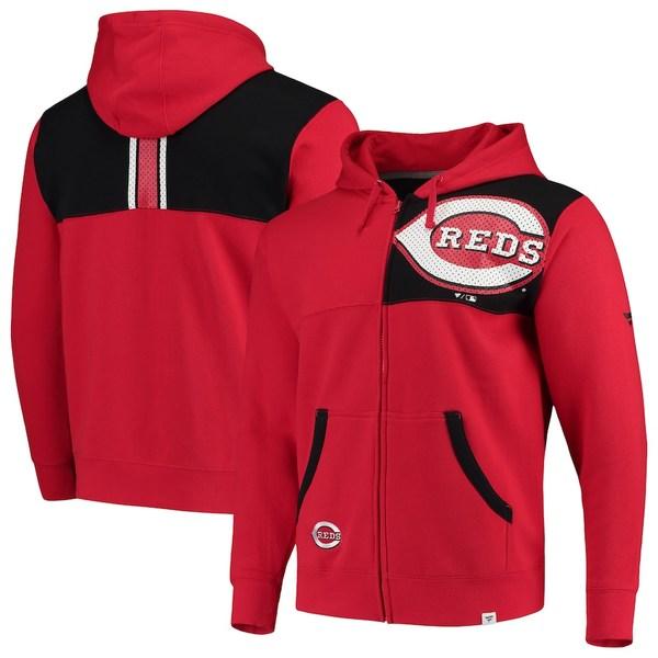 ファナティクス メンズ パーカー・スウェットシャツ アウター Cincinnati Reds Fanatics Branded Iconic Bold Full-Zip Hoodie Red/Black