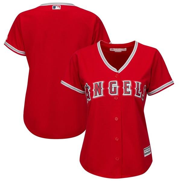 マジェスティック レディース シャツ トップス Los Angeles Angels Majestic Women's Alternate Plus Size Cool Base Team Jersey Scarlet