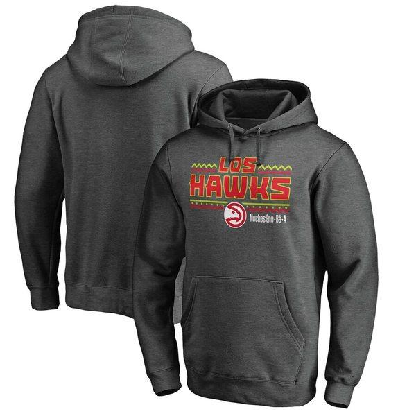 ファナティクス メンズ パーカー・スウェットシャツ アウター Atlanta Hawks Fanatics Branded Noches Ene-Be-A Pullover Hoodie Heather Gray