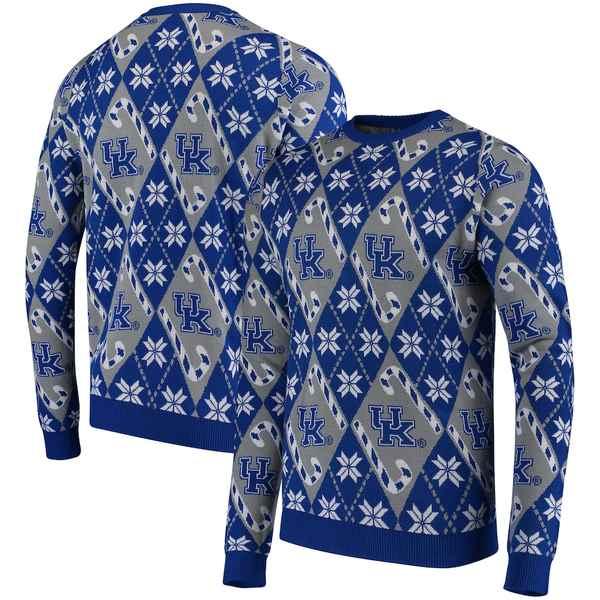 フォコ メンズ シャツ トップス Kentucky Wildcats Candy Cane Repeat Crew Neck Sweater Royal