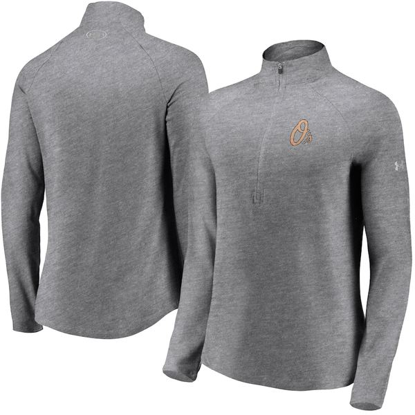 アンダーアーマー レディース ジャケット&ブルゾン アウター Baltimore Orioles Under Armour Women's Passion Alternate Performance Tri-Blend Raglan Half-Zip Pullover Jacket Heathered Gray