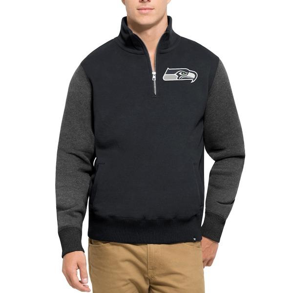 フォーティーセブン メンズ ジャケット&ブルゾン アウター Seattle Seahawks '47 Triple Coverage Quarter-Zip Sweatshirt College Navy