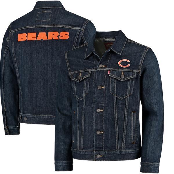 リーバイス メンズ ジャケット&ブルゾン アウター Chicago Bears Levi's Sports Denim Trucker Jacket Blue