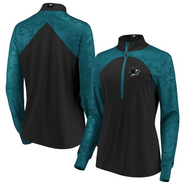ファナティクス レディース ジャケット&ブルゾン アウター San Jose Sharks Fanatics Branded Women's Rookie Sensation Quarter-Zip Pullover Jacket Black/Teal