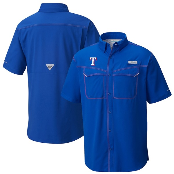 コロンビア メンズ シャツ トップス Texas Rangers Columbia Low Drag Offshore Omni-Shade Button-Up Shirt Royal