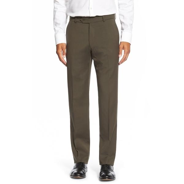 バリーン メンズ カジュアルパンツ ボトムス Ballin Classic Fit Flat Front Solid Wool Dress Pants Loden