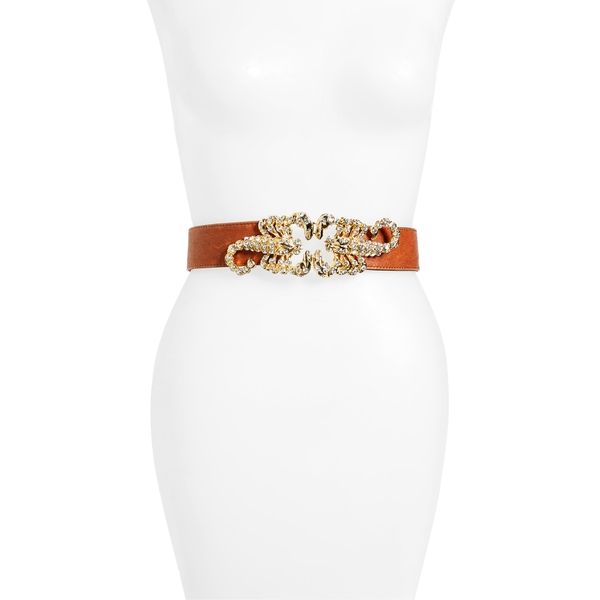 レイナ レディース ベルト アクセサリー Raina Queen Scorpion Leather Belt Brown/ White Crystal