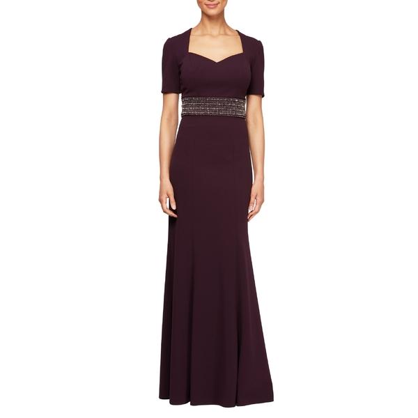 アレックスイブニングス レディース ワンピース トップス Alex Evenings Embellished Gown Aubergine