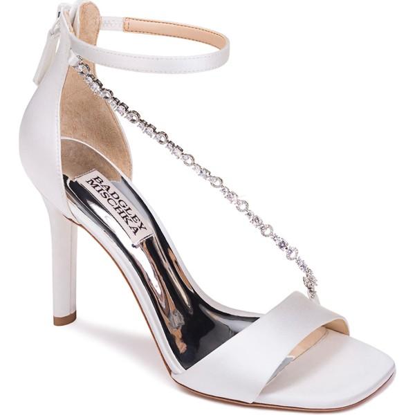 バッドグレイミッシカ レディース サンダル シューズ Badgley Mischka Erika Crystal Cross Strap Sandal (Women) Soft White Satin