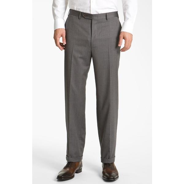 カナーリ メンズ カジュアルパンツ ボトムス Canali Flat Front Classic Fit Wool Dress Pants Grey