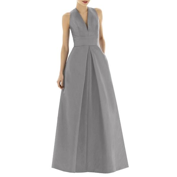 アルフレッド Quarry レディース ワンピース トップス & Alfred Sung V-Neck Dupioni V-Neck Evening Gown (Regular & Plus Size) Quarry, リシリフジチョウ:2fc74499 --- officewill.xsrv.jp
