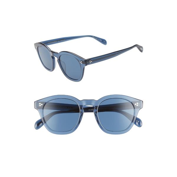 オリバーピープルズ メンズ サングラス・アイウェア アクセサリー Oliver Peoples Boudreau 48mm Round Sunglasses Blue/Blue