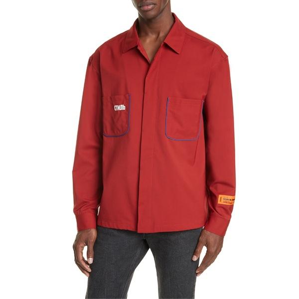 ヘロン プレストン メンズ シャツ トップス Heron Preston CTNMB Piped Button-Up Wool Blend Worker Shirt Dark Red