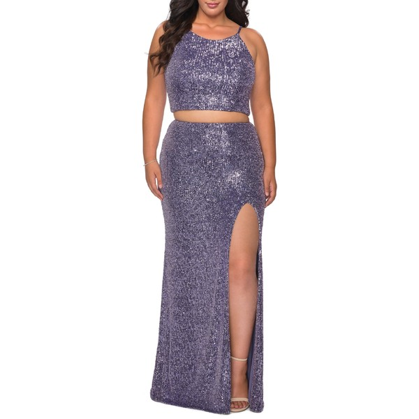 ラフェム レディース ワンピース トップス La Femme Two-Piece Sequin Trumpet Gown (Plus Size) Lavender