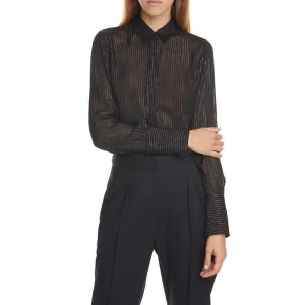 ニリロータン レディース シャツ トップス Lleida Metallic Stripe Silk Shirt BLACK W/ GOLD STRIPE