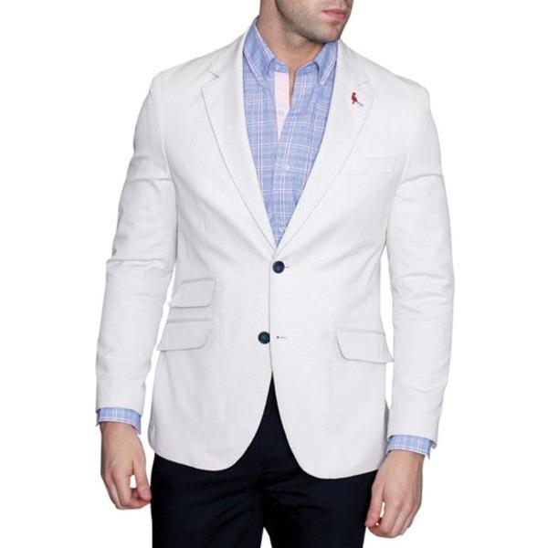 テーラーバード Lapel ジャケット&ブルゾン メンズ Sport WHITE Pin アウター Modern White Fit Two Dot Button Coat Notch