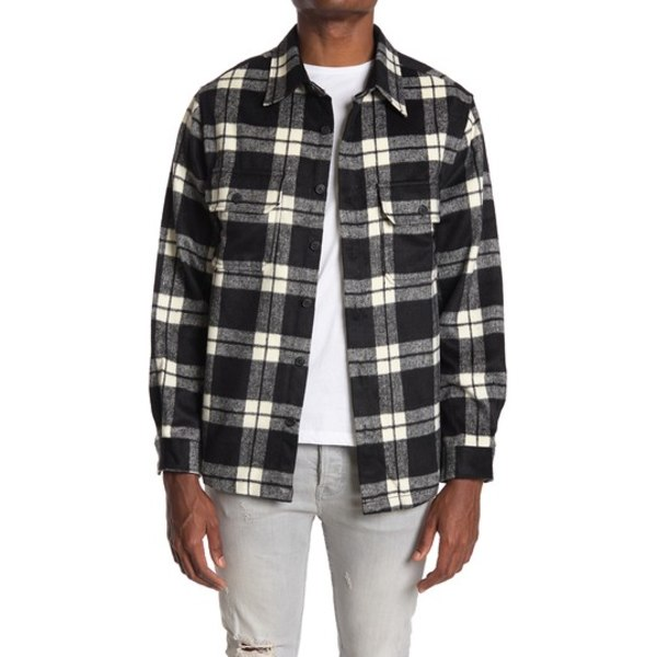 セブンダイヤモンド メンズ ジャケット&ブルゾン アウター Monte Plaid Flannel Shirt BLACK