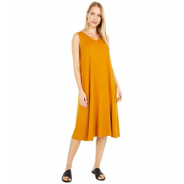 エイリーンフィッシャー レディース ワンピース トップス V-Neck Calf Length Flare Dress Goldenrod