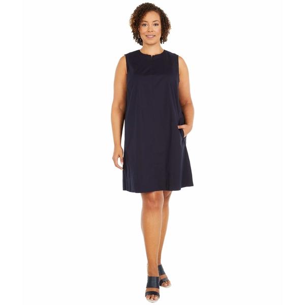 エイリーンフィッシャー レディース ワンピース トップス Plus Size Zip Neck Knee Length Dress Ink