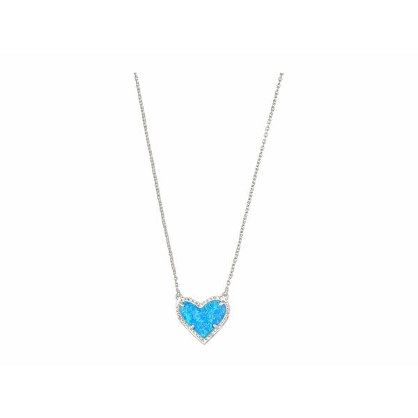 ケンドラスコット レディース ネックレス・チョーカー・ペンダントトップ アクセサリー Ari Heart Short Pendant Necklace Rhodium Ocean Opal