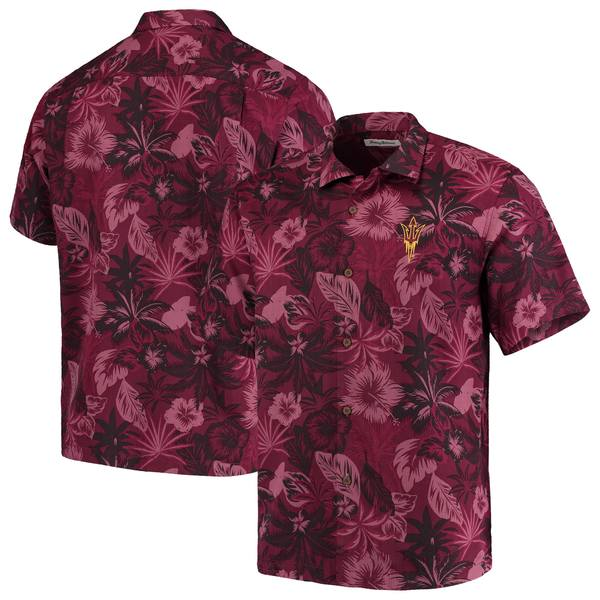 トッミーバハマ メンズ シャツ トップス Arizona State Sun Devils Tommy Bahama Fuego Floral Silk Camp Shirt Maroon