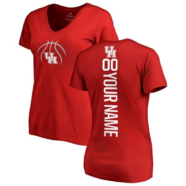 ファナティクス レディース Tシャツ トップス Houston Cougars Fanatics Branded Women's Basketball Personalized Playmaker VNeck TShirt Red