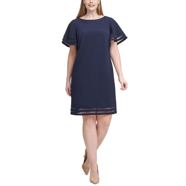 ジェシカハワード レディース トップス ワンピース Navy 専門店 全商品無料サイズ交換 Size Sheath Dress Illusion-Trim 大好評です Plus