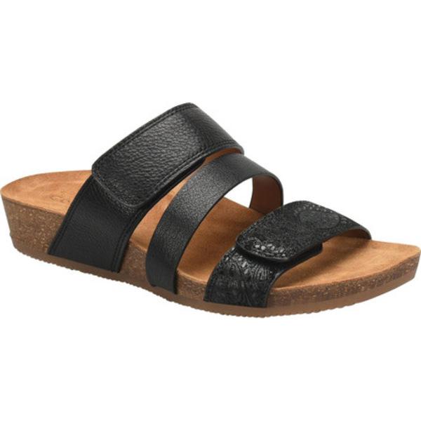 コンフォーティバ レディース サンダル シューズ Gemina Slide Sandal Black Smooth Leather