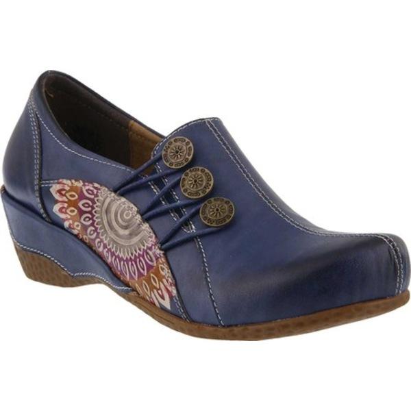 スプリングステップ レディース サンダル シューズ Agacia Closed-Back Clog Blue Leather