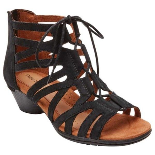 ロックポート レディース サンダル シューズ Cobb Hill Laurel Caged Sandal Black Antiqued Leather