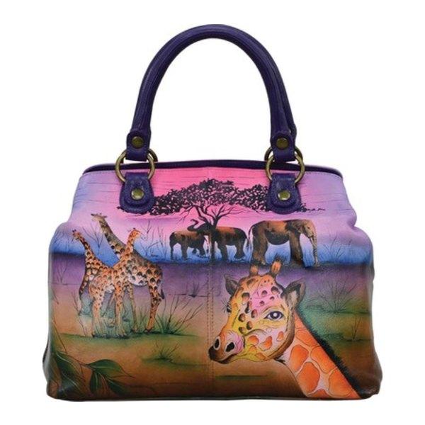 アンナバイアナシュカ レディース ハンドバッグ バッグ Hand Painted Leather Compartment Satchel 8392 Serengeti Sunset