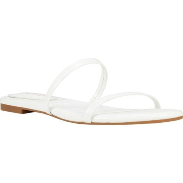 ナインウェスト レディース サンダル シューズ Blaise Slide Sandal White Croco Faux Leather