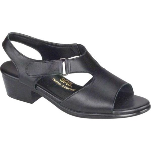 エスエーエス レディース サンダル シューズ Suntimer Heeled Sandal Black Leather