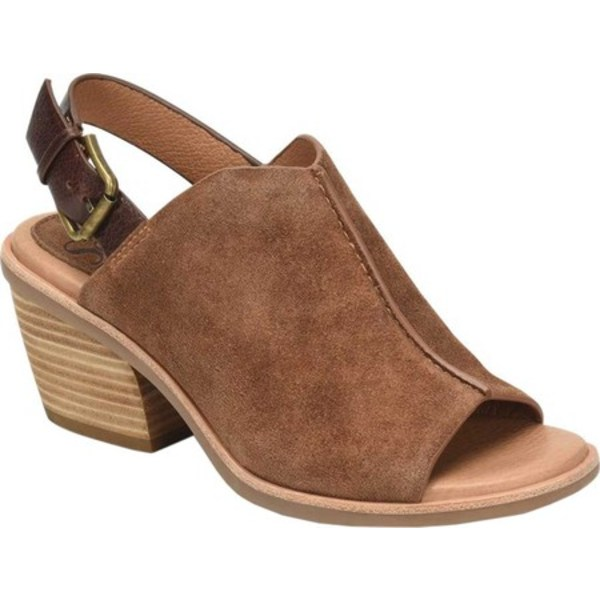 ソフト レディース サンダル シューズ Pelonia Heeled Slingback Sandal Light Brown Cow Suede