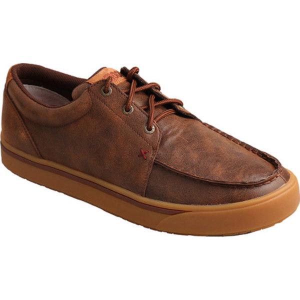 ツイステッド エックス メンズ ブーツ&レインブーツ シューズ Hooey Moc Toe Sneaker Brown Leather