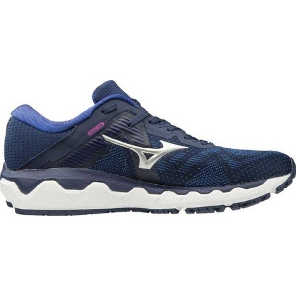 ミズノ レディース スニーカー シューズ Wave Horizon 4 Running Shoe Medieval Blue/Silver