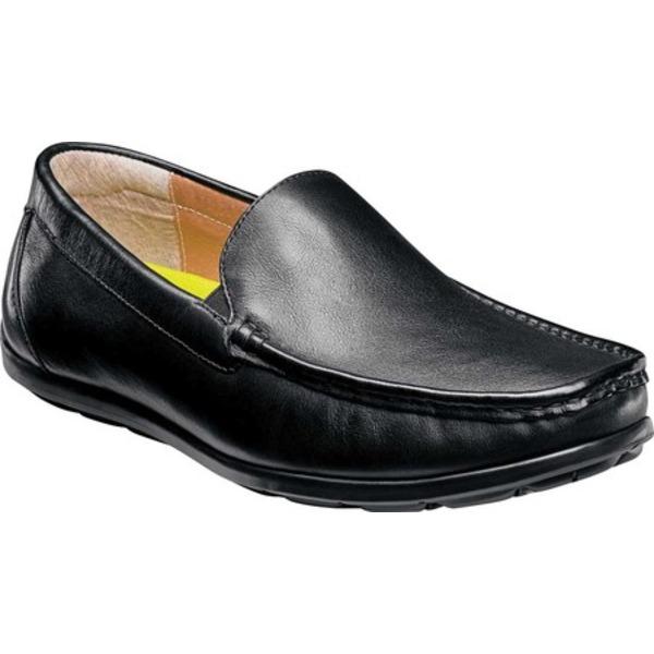 フローシャイム メンズ ブーツ&レインブーツ シューズ Draft Moc Toe Venetian Driver Black Smooth Leather