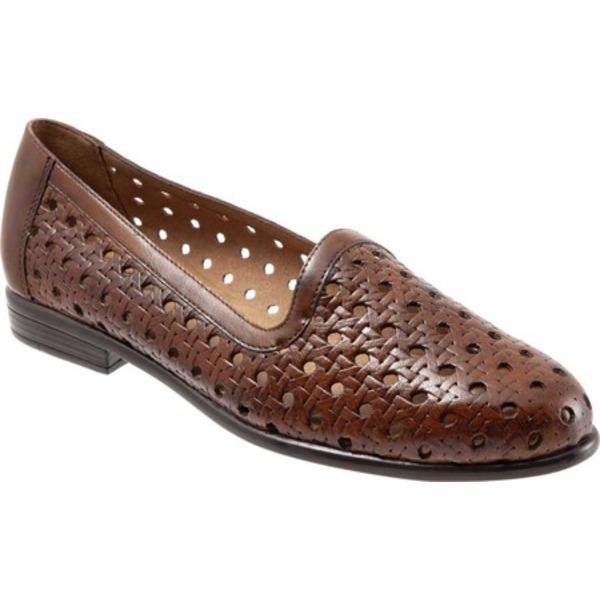 トロッターズ レディース スリッポン・ローファー シューズ Liz Open Weave Loafer Brown Leather