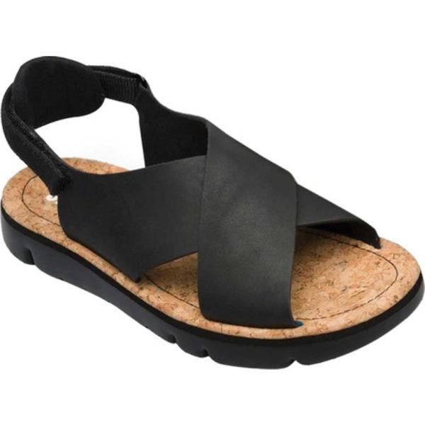 カンペール レディース スニーカー シューズ Oruga Platform Sandal Black Full Grain Leather/Technical Fabric