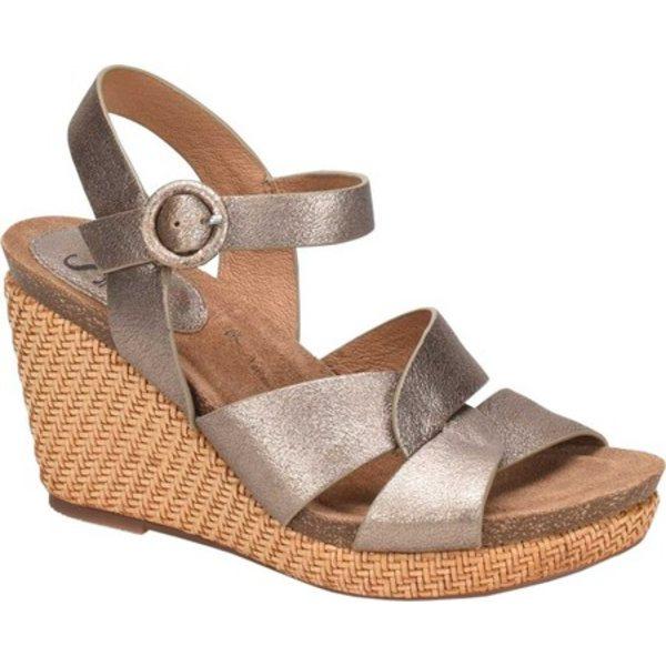 ソフト レディース サンダル シューズ Casidy Wedge Ankle Strap Sandal Gold Metallic Leather