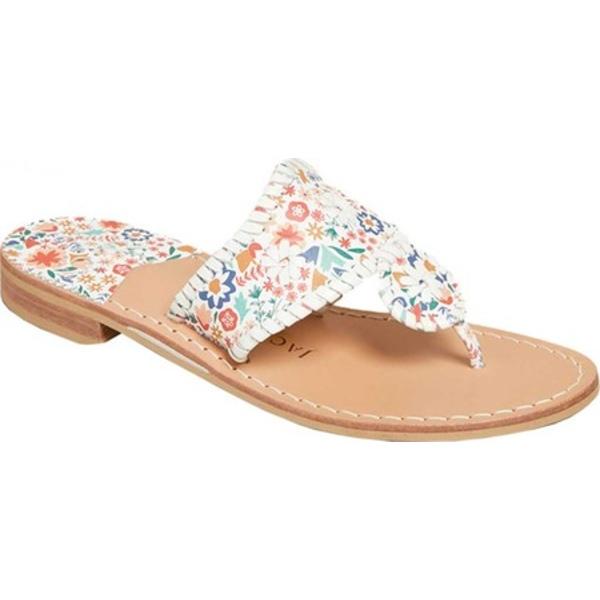 ジャックロジャース レディース サンダル シューズ Jacks Icon Floral Flat Thong Sandal White Leather