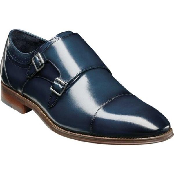 ステイシーアダムス メンズ ドレスシューズ シューズ Bayne Cap Toe Double Monkstrap Ink Blue Burnished Leather