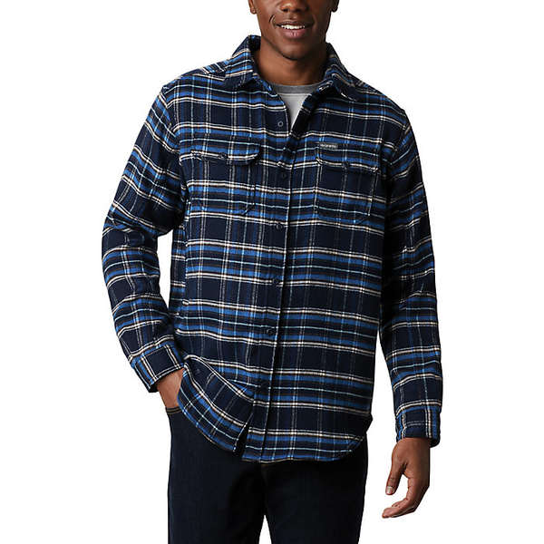 コロンビア メンズ シャツ トップス Columbia Men's Deschutes River Heavyweight Flannel Shirt Collegiate Navy Plaid