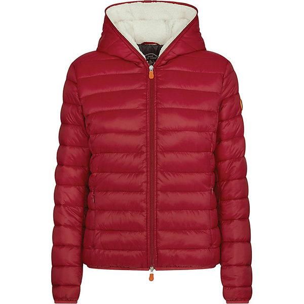 セーブザダック レディース ジャケット&ブルゾン アウター Save The Duck Women's Hooded Sherpa Jacket Mineral Red