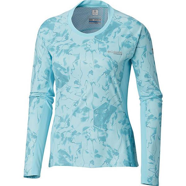 コロンビア レディース シャツ トップス Columbia Women's Solar Ice Knit LS Top Clear Blue Geo Print